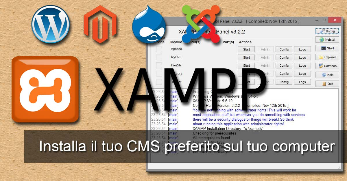 xampp apache tomcat cms windows wordpress joomla