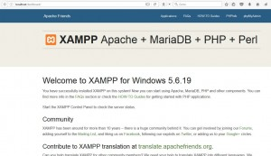 XAMPP main window configuration